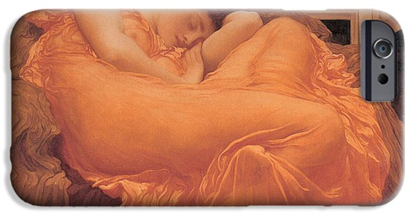 Flames Paintings iPhone Cases - Flaming June - 1895 iPhone Case by Lord Frederic Leighton