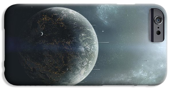 Escape iPhone Cases - Fleet Of Colonization Ships Departing iPhone Case by Tomasz Dabrowski