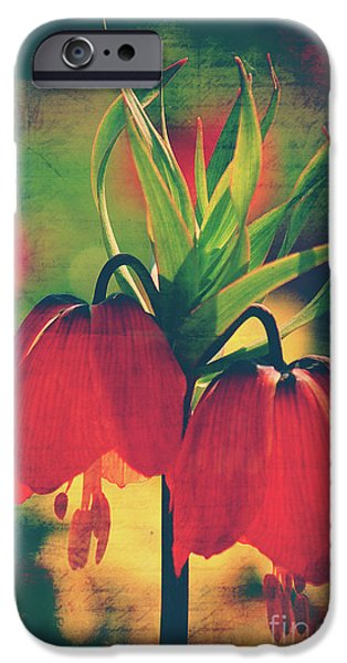 Flora Mixed Media iPhone Cases - Fleur de printemps iPhone Case by Angela Doelling AD DESIGN Photo and PhotoArt
