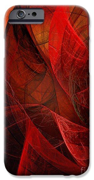 Flame Fractal iPhone Cases - Flickering Flaming Fractal 2 iPhone Case by Andee Design