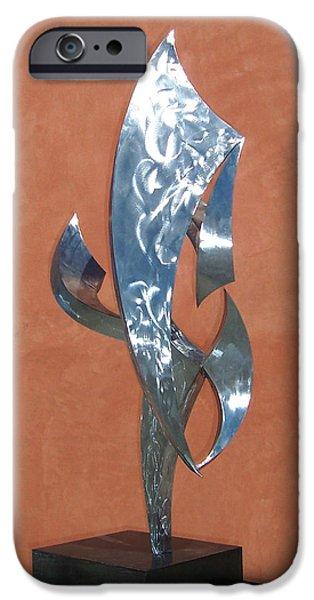 Abstract Movement Sculptures iPhone Cases - Flight Of Daphne iPhone Case by John Neumann