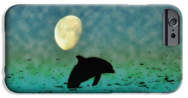 Porpoise iPhone Cases - Flippers Moonlight Swim iPhone Case by Bill Cannon