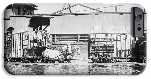 River Flooding iPhone Cases - Flooding On The Mississippi River, 1909 iPhone Case by Library of Congress