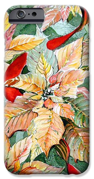 Botanical Drawings iPhone Cases - Flora Poinsettia iPhone Case by Mindy Newman