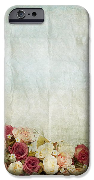 floral pattern on old paper iPhone Case by Setsiri Silapasuwanchai
