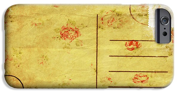 Rag iPhone Cases - Floral Pattern On Old Postcard iPhone Case by Setsiri Silapasuwanchai