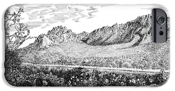 Pen And Ink Framed Prints iPhone Cases - Florida Mountains and Poppies iPhone Case by Jack Pumphrey