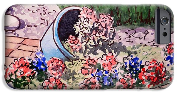Brick Paintings iPhone Cases - Flower Bed Sketchbook Project Down My Street iPhone Case by Irina Sztukowski