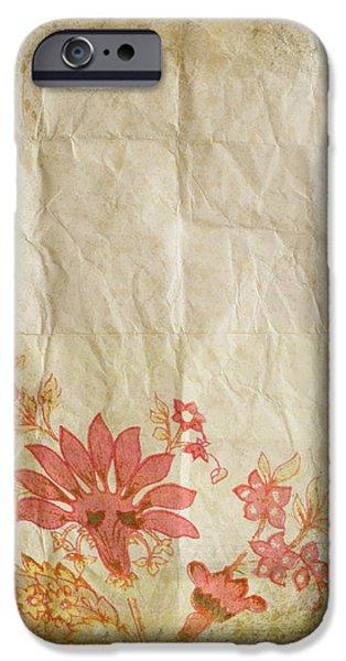 flower pattern on old paper iPhone Case by Setsiri Silapasuwanchai