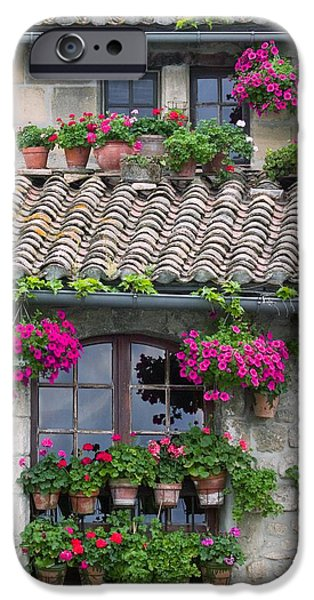 Flower Pots In Windows In Arles iPhone Case by Carson Ganci