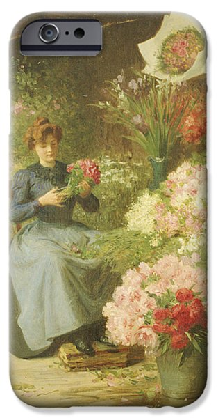 19th Century iPhone Cases - Flower Seller in front of the Madeleine Church iPhone Case by Victor Gabriel Gilbert