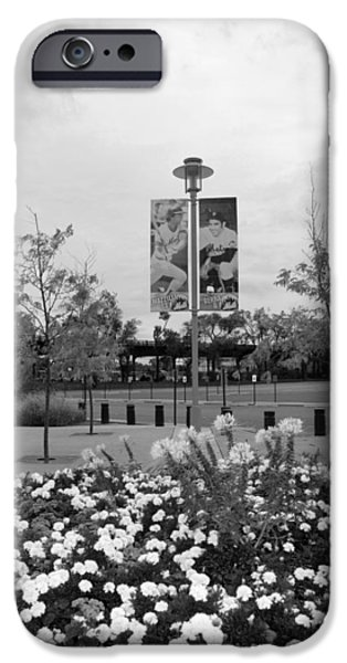 FLOWERS AT CITI FIELD in BLACK AND WHITE iPhone Case by ROB HANS