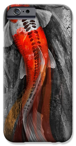 Fish iPhone Cases - Flowing Koi iPhone Case by Steve Goad