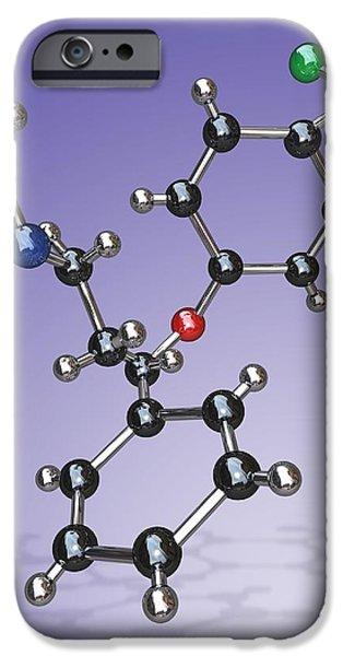 Antidepressant iPhone Cases - Fluoxetine Drug Molecule iPhone Case by Miriam Maslo