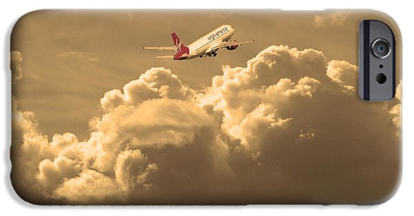 Boeing 747 iPhone Cases - Fly Me To The Moon . Partial Sepia iPhone Case by Wingsdomain Art and Photography