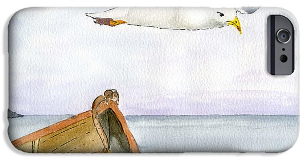 Seagull Drawings iPhone Cases - Flying Across iPhone Case by Eva Ason