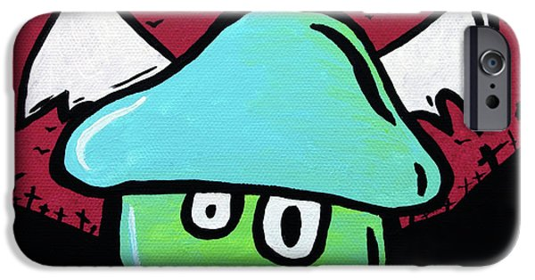 Caricature Mixed Media iPhone Cases - Flying Mushroom iPhone Case by Jera Sky