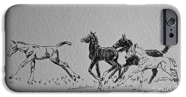 Crops Drawings iPhone Cases - Foal Foolery iPhone Case by Susan Herber