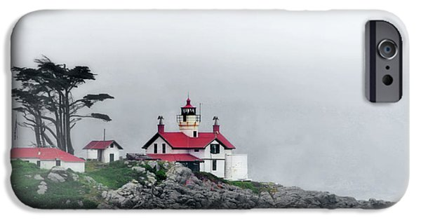 Lightstations iPhone Cases - Fog comes rolling in - Battery Point Lighthouse - Crescent City CA iPhone Case by Christine Till