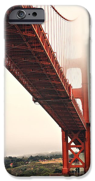 Fog lifting at the Golden Gate iPhone Case by Cheryl Young