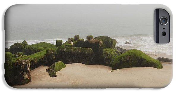 Bay Head Beach iPhone Cases - Fog Sits On Bay Head Beach II- Jersey Shore iPhone Case by Angie Tirado