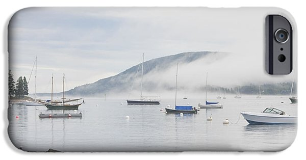 Sailboat Ocean iPhone Cases - Fog Southwest Harbor Mount Desert Maine iPhone Case by Keith Webber Jr