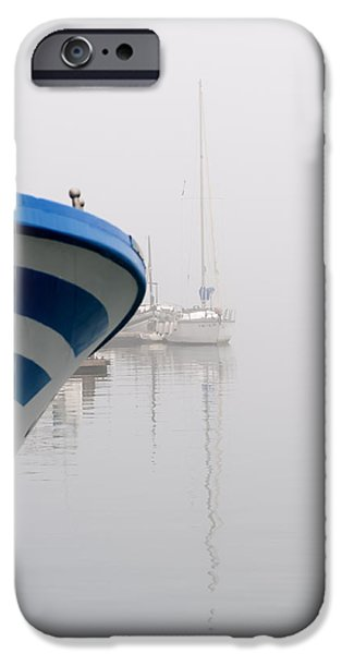 Miracle iPhone Cases - foggy days 1 - a fishing boat and a vessel in a foggy day at Port Mahon iPhone Case by Pedro Cardona