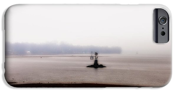 Bouys iPhone Cases - Foggy Delaware River iPhone Case by Bill Cannon