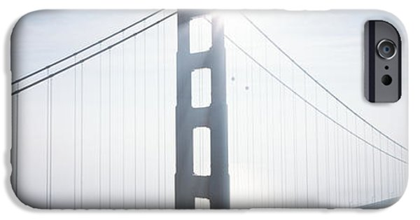 Covered Bridge iPhone Cases - Foggy Golden Gate iPhone Case by Carl Shaneff - Printscapes