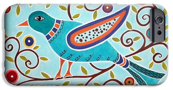Pillows iPhone Cases - Folk Bird iPhone Case by Karla Gerard