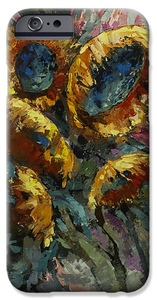 Pallet Knife Paintings iPhone Cases - Follow the Sun 2 iPhone Case by Michael Lang