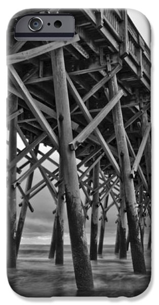 Folly Beach Pier Black and White iPhone Case by Dustin K Ryan