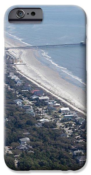 Folly iPhone Cases - Folly Beach South Carolina Aerial iPhone Case by Dustin K Ryan