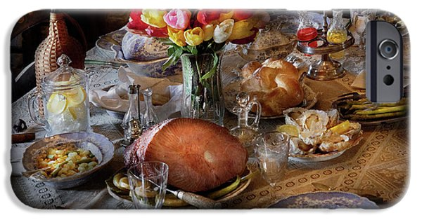 Tea Party iPhone Cases - Food - Easter Dinner iPhone Case by Mike Savad