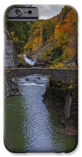 Autumn Photographs iPhone Cases - Footbridge at Lower Falls iPhone Case by Rick Berk