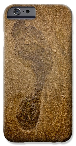 Jaco iPhone Cases - Footprint in the Sand iPhone Case by Anthony Doudt