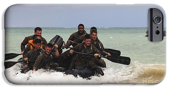 Physical Exhaustion iPhone Cases - Force Reconnaissance Marines Paddle iPhone Case by Stocktrek Images