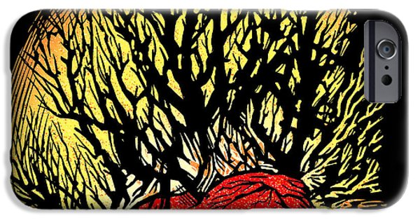Linoleum iPhone Cases - Forest Fire, Lino Print iPhone Case by Gary Hincks