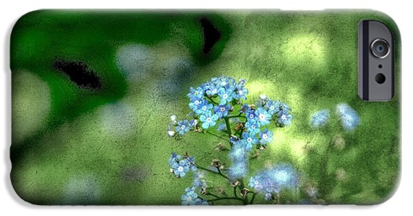 Torn iPhone Cases - Forget-me-not Grunge iPhone Case by Darren Fisher
