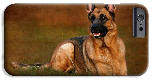 Purebred Digital Art iPhone Cases - Forrest The German Shepherd iPhone Case by Angie Tirado