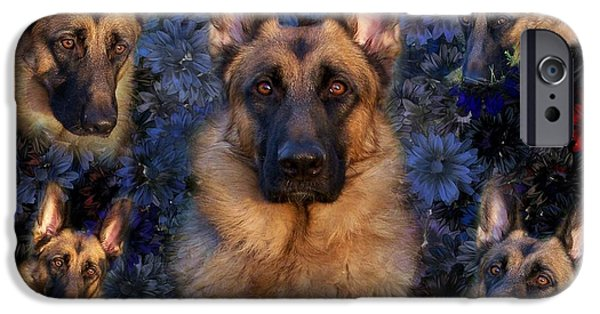 Canine Greeting Cards Digital Art iPhone Cases - Forrest With Flowers - German Shepherd Dog iPhone Case by Angie Tirado