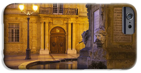 Night Lamp iPhone Cases - Fountain Aix-en-Provence iPhone Case by Brian Jannsen