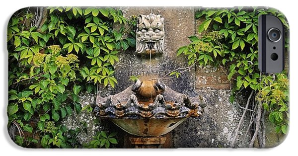 Garden Statuary iPhone Cases - Fountain In The Walled Garden, Florence iPhone Case by The Irish Image Collection