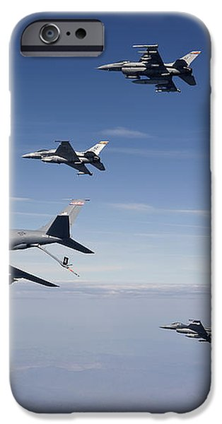 Four F-16s And A Kc-135 Fly iPhone Case by HIGH-G Productions