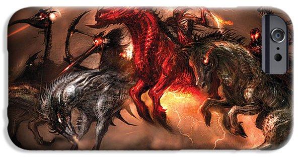 Concept Digital Art iPhone Cases - Four Horsemen iPhone Case by Alex Ruiz