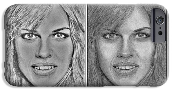 Celebrities Art iPhone Cases - Four Interpretations of Hilary Swank iPhone Case by J McCombie