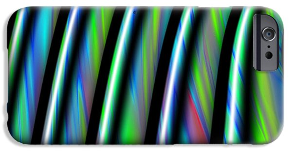 Gina Manley iPhone Cases - Fractal Abstract Stripes iPhone Case by Gina Lee Manley