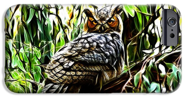 Fractal-s -great Horned Owl - 4336 iPhone Case by James Ahn