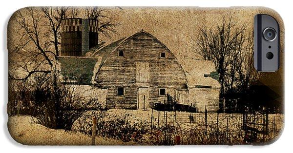 Barnyard Digital Art iPhone Cases - Fragmented Barn  iPhone Case by Julie Hamilton