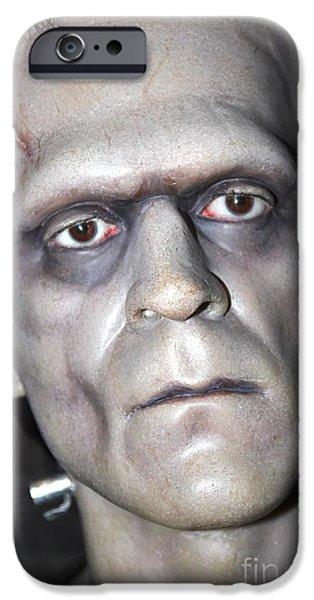 Statue Portrait iPhone Cases - Frankensteins Monster iPhone Case by Sophie Vigneault